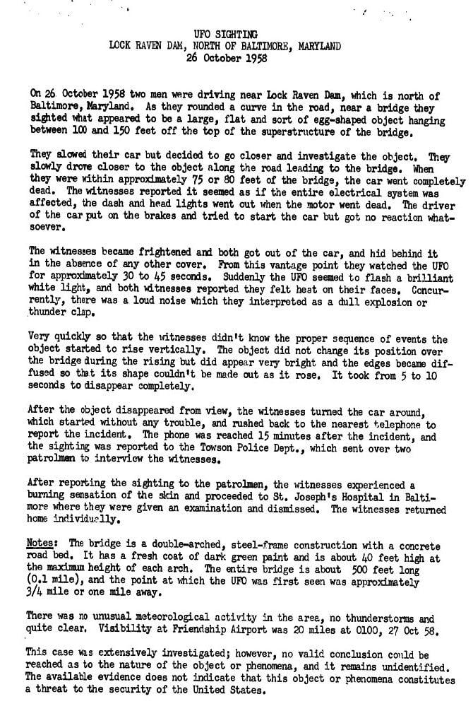 loch raven ufo report project blue book