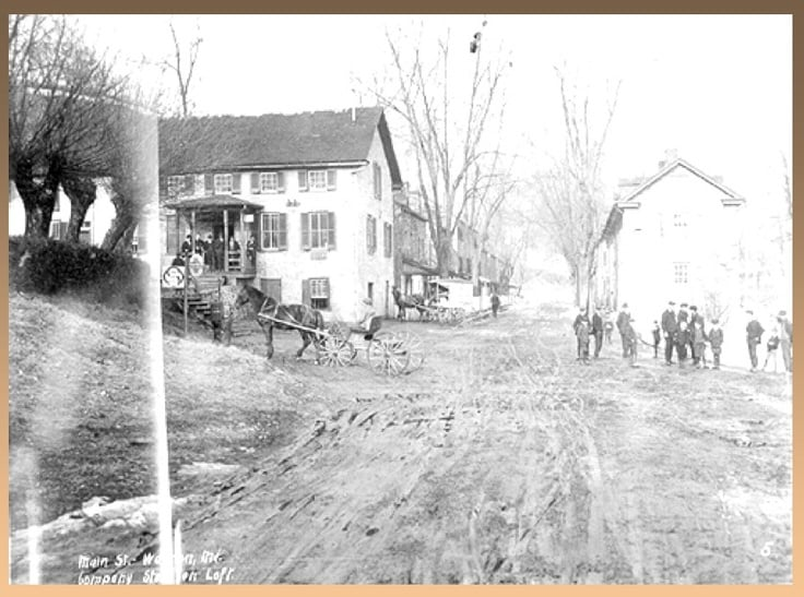 Warren Manufacturing Company store and Main Street, 1908