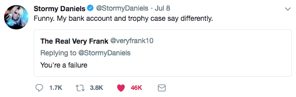 stormy daniels tweet my bank account and trophy case say differently