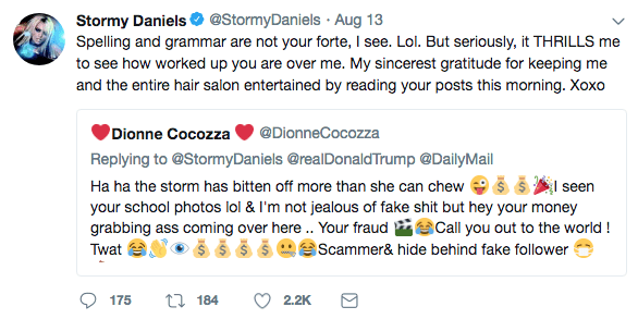Stormy Daniels Spelling and Grammar