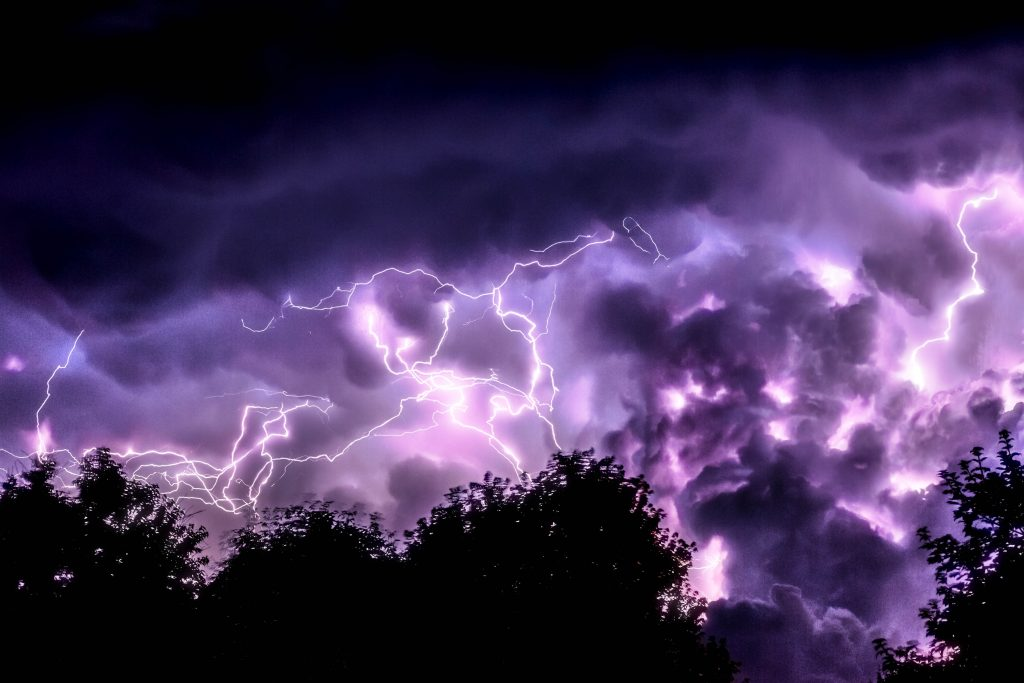 Lightning Clouds Purple