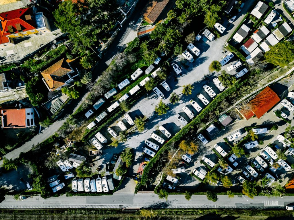 Aerial view of Campsite with caravans on holiday or vacation in Italy