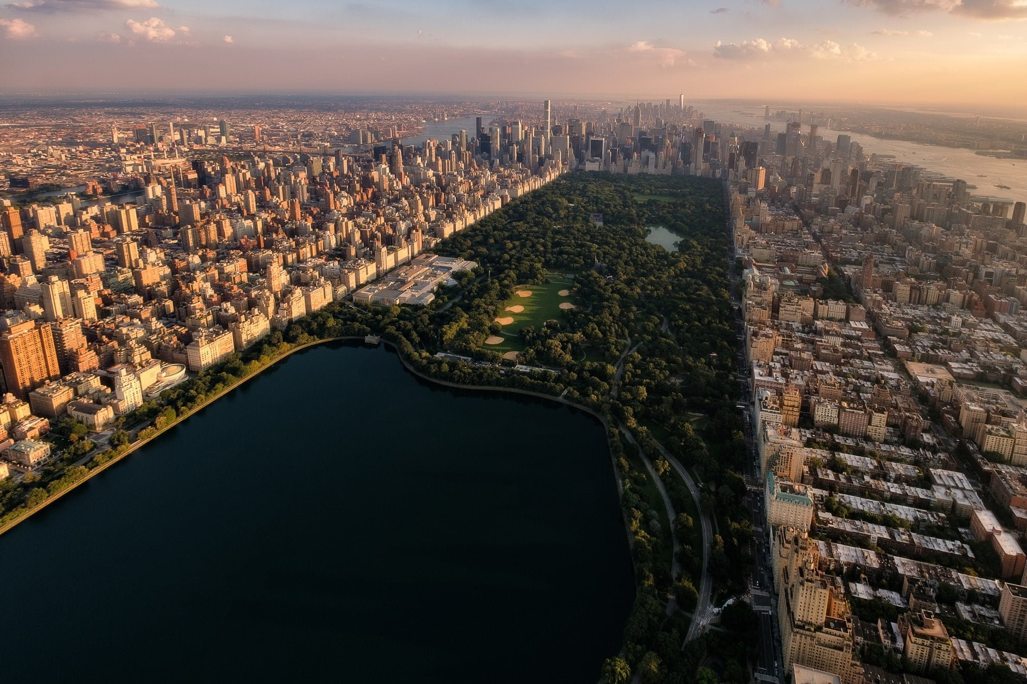 Aerial view of the sunset on Central Park, New York City
