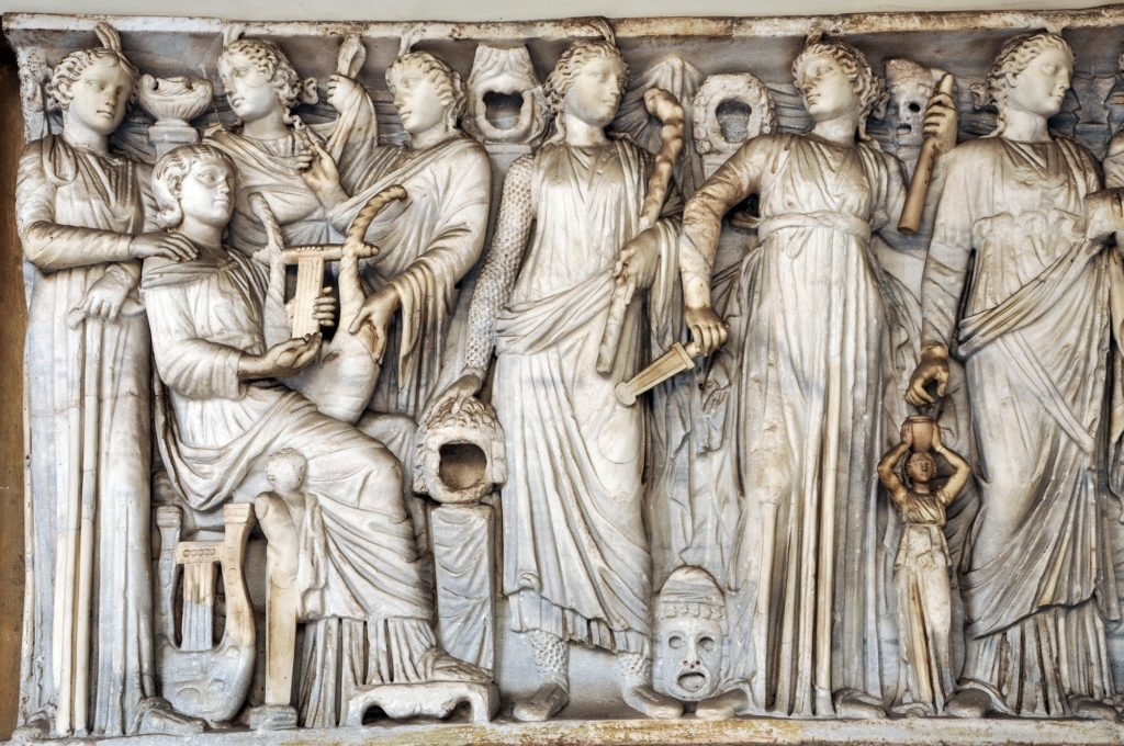 Bas-relief, statue and sculpture details in stone of Roman Gods and Emperors