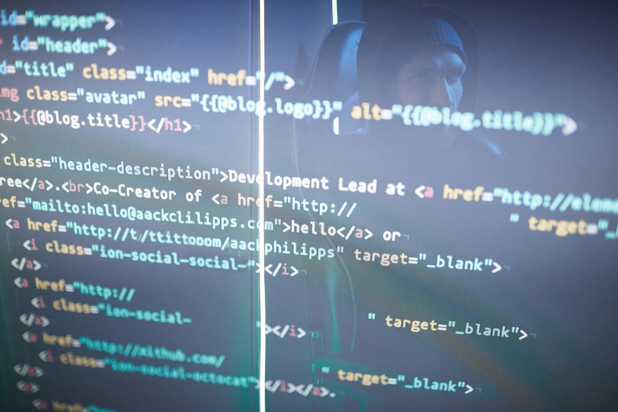 CSS Code Computer symbols on monitor