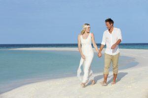 Couple At Beautiful Beach Wedding