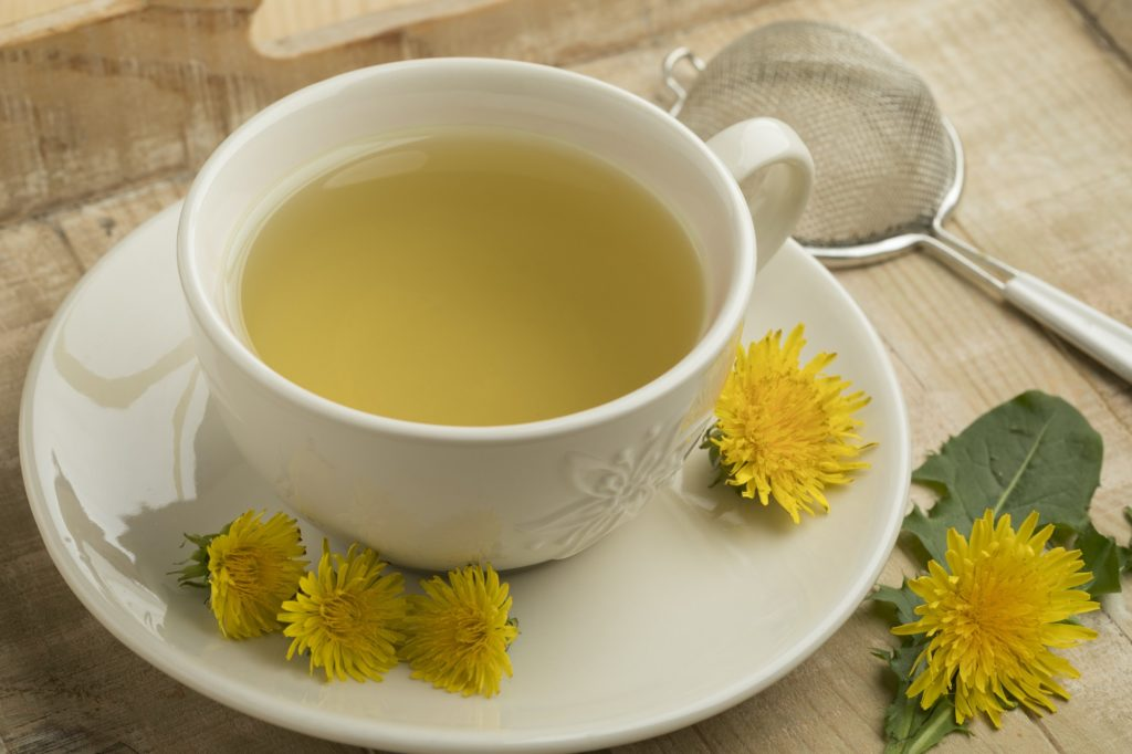 Cup of healthy dandelion tea