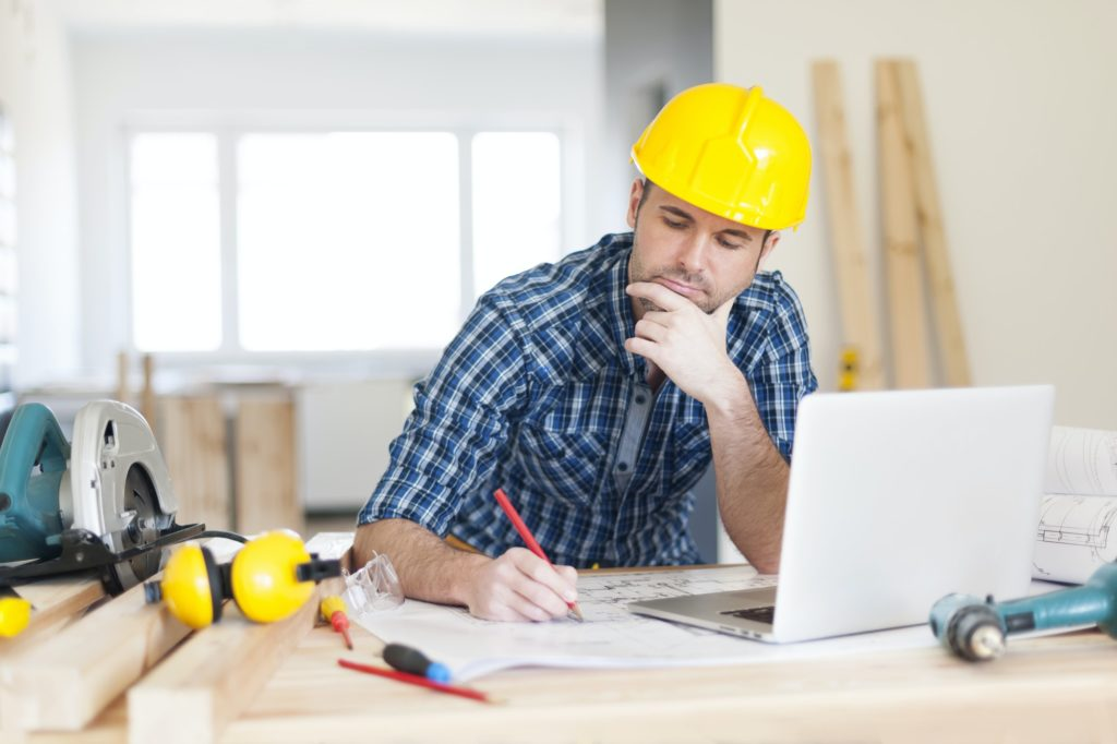 Focus construction worker on construction site