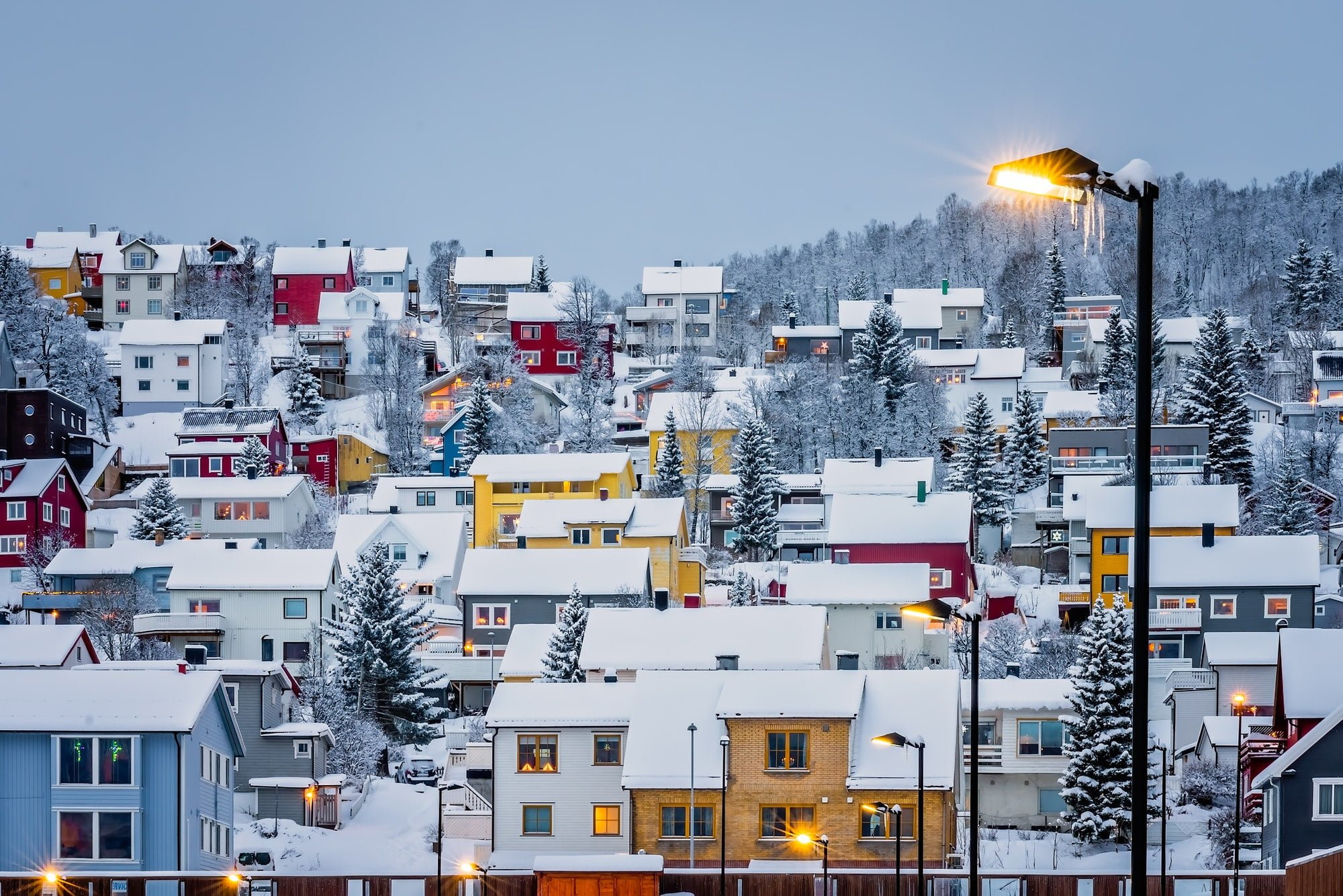 Hillside houses in Tromso in winter