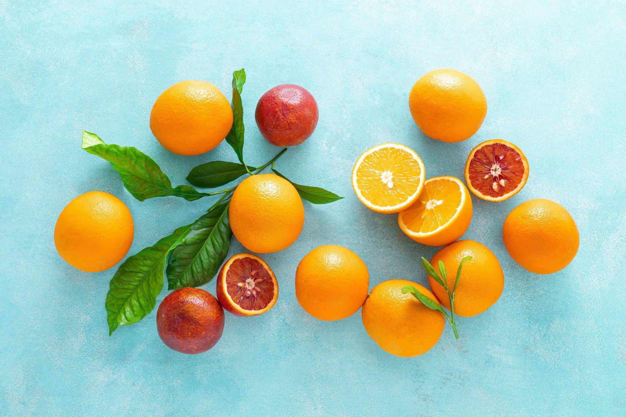 Oranges, fresh fruits, vitamin C concept