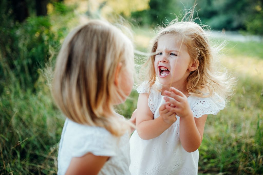 Two small angry girl friends or sister outdoors in sunny summer nature, arguing.