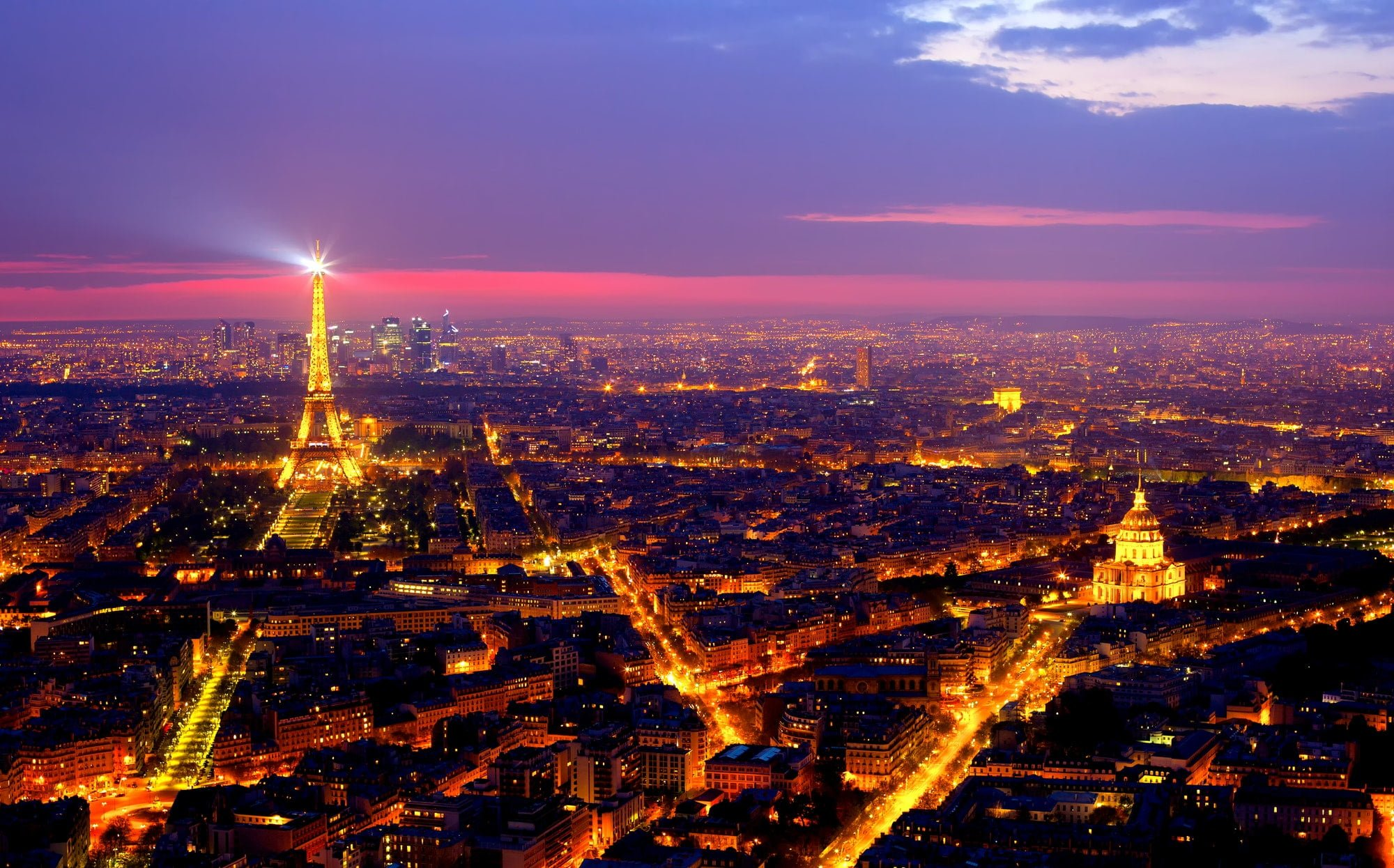 View of Paris by night