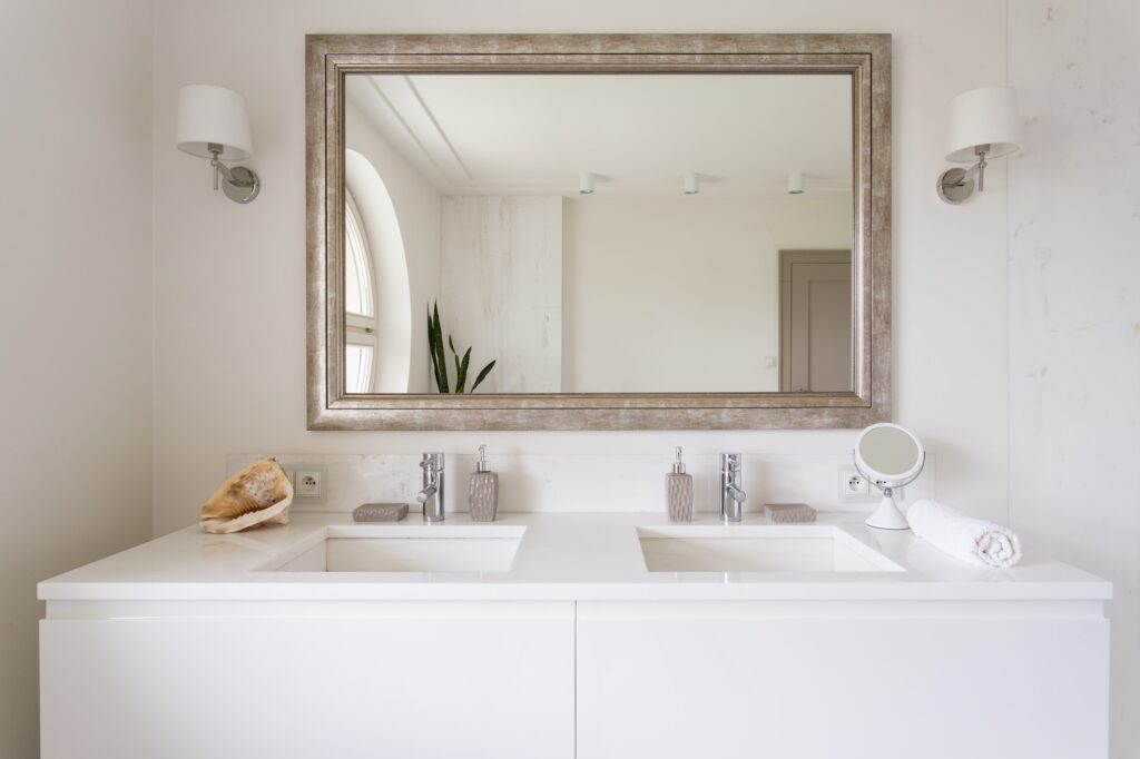White vanity top with two sinks