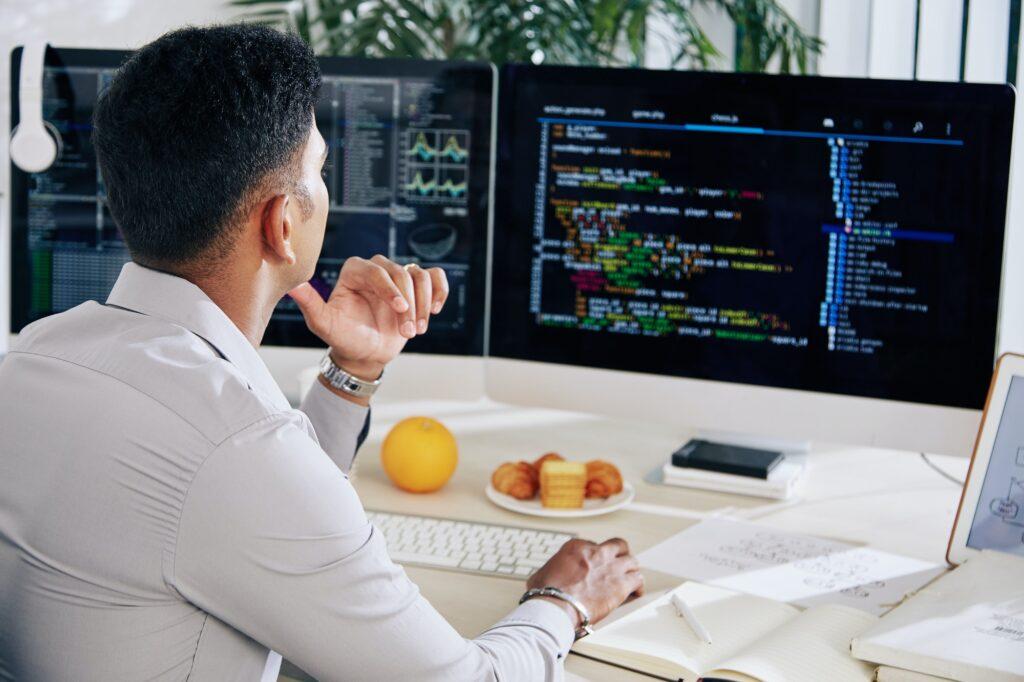 Developer checking programming code
