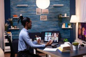 Dark skinned business woman doing remote work